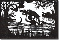Wie der Hase noch einmal mit dem Schrecken davon kam.   (Märchen aus Mali, übersetzt von Christof Wackernagel, Scherenschnitte von mir),48 Seiten