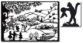 Der gestiefelte Kater und Frau Holle   (zwei Märchen der Brüder Grimm, Scherenschnittillustrationen von mir), 52 Seiten