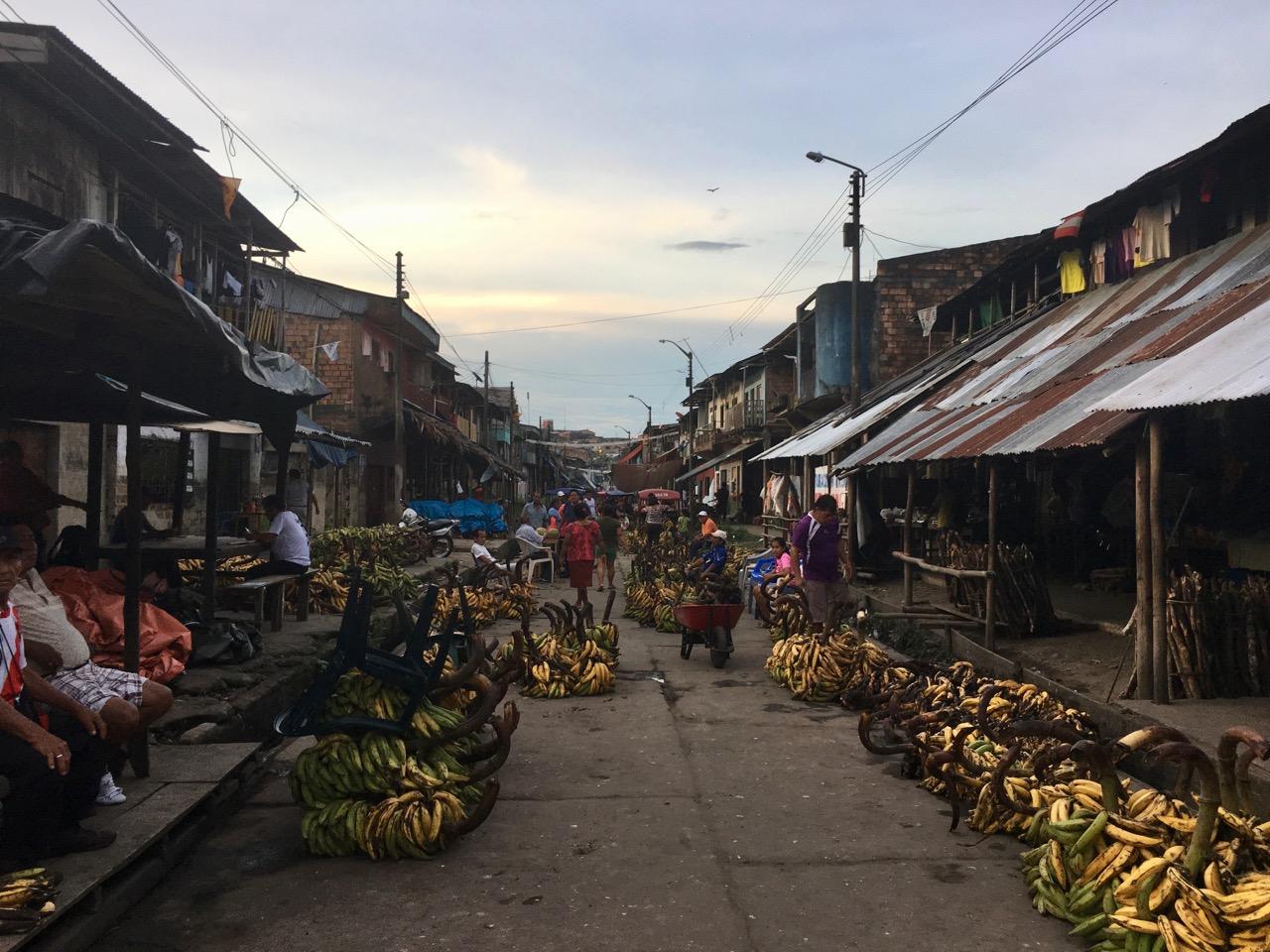 Banaani-tänavalt saabuvad koormad metsast linna. Foto: Kaidi Reinu /Amazonas Reisid