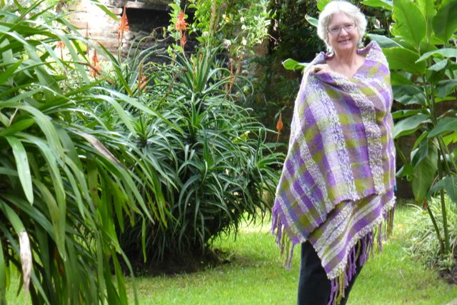 Here I am in the garden wrapped in the Wedding Shawl.