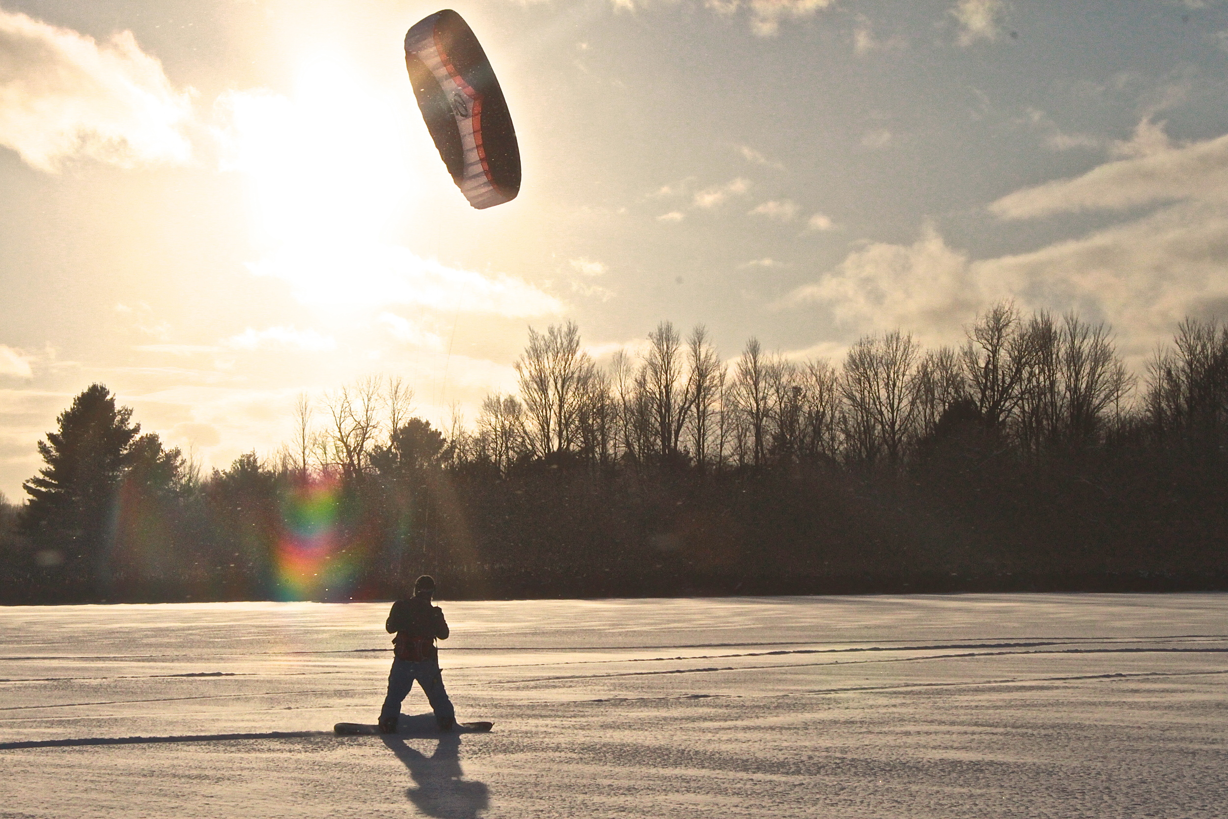 Snow Kiting on Shelburne Pond