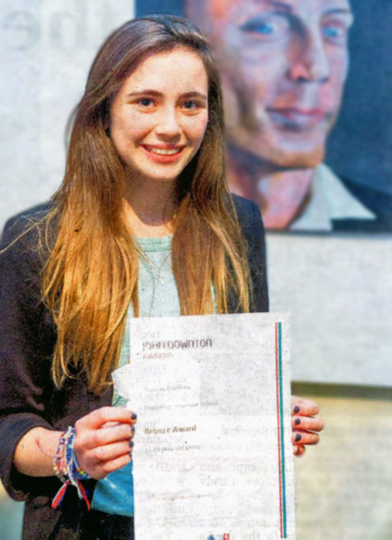 """Hannah Cockram and her entry """"Portrait of Mr Smith"""""""