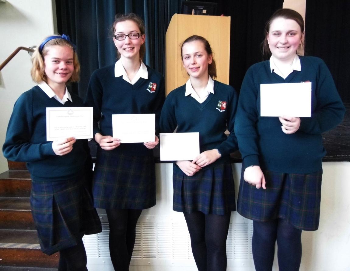 The winning team: Rose Blyth, Sophie McInerny, Emily James and Elizabeth Hopkins