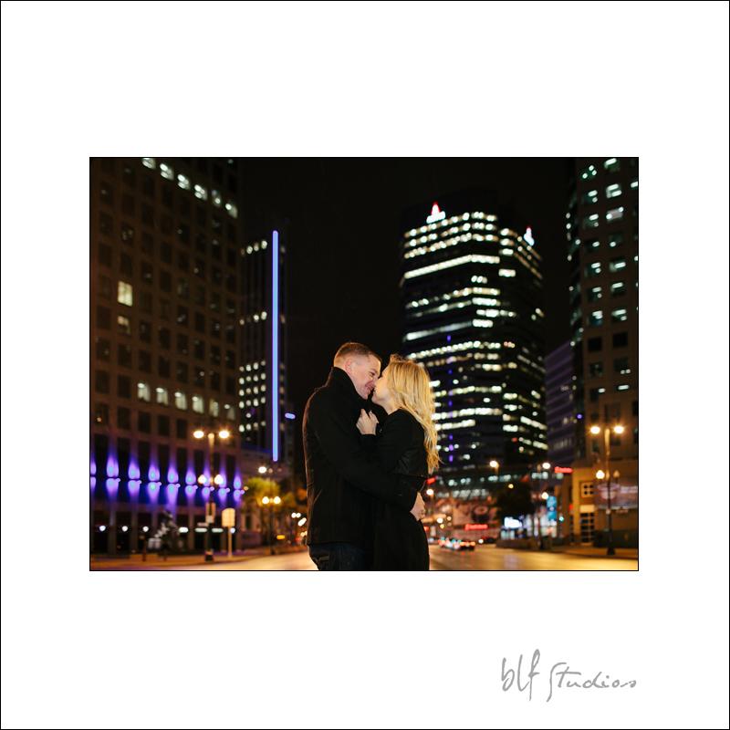 Nigh time engagement photos in Winnipeg Exchange District
