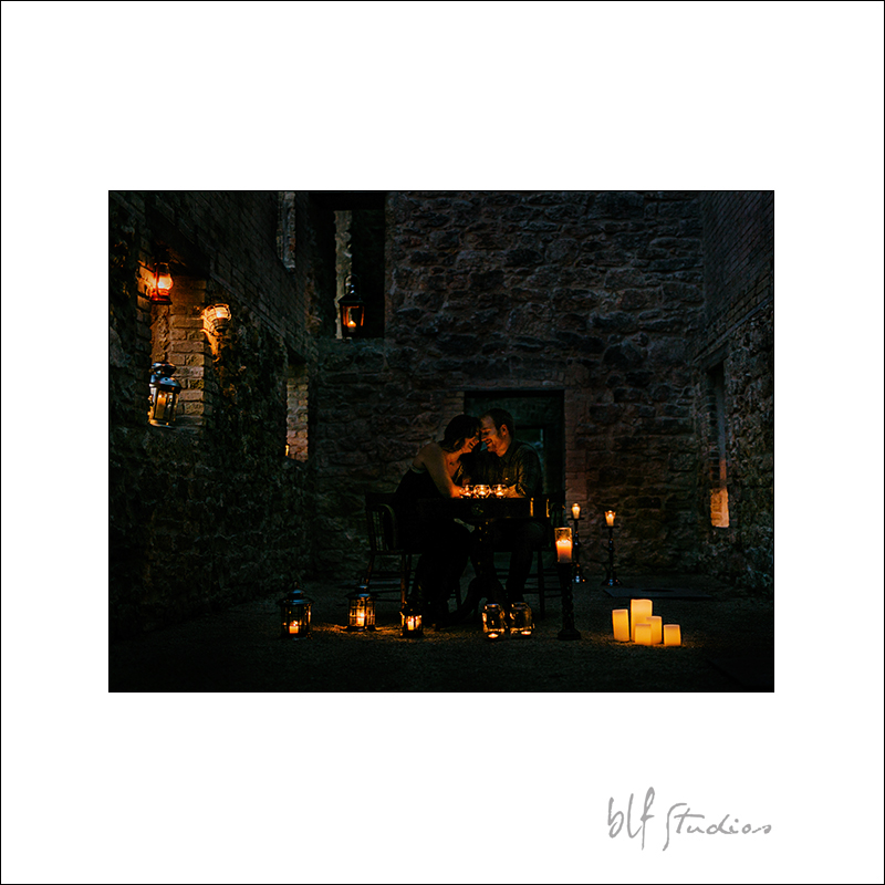 Night time engagement photos in St. Norbert
