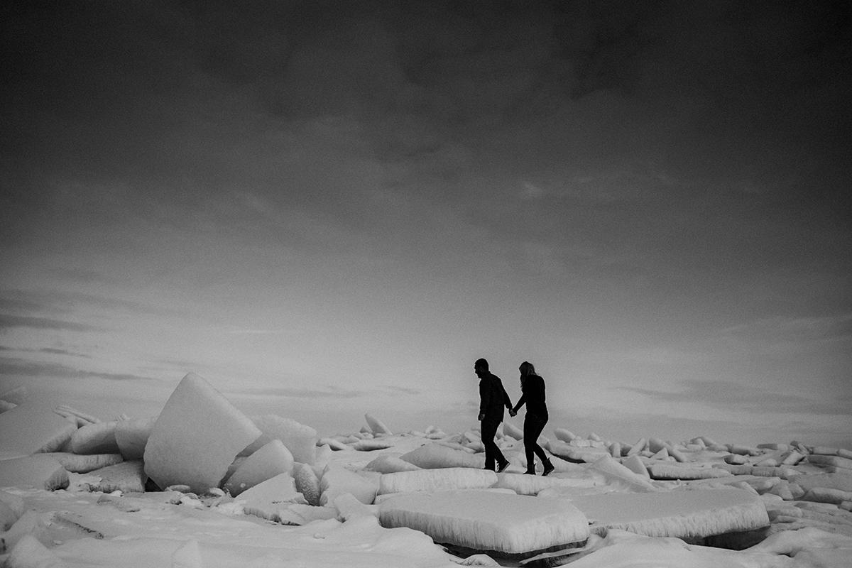 Frozen lake Winnipeg engagement photography