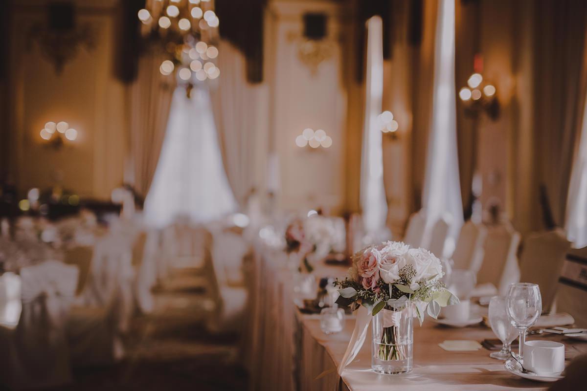 Head table wedding set up Hotel Fort Garry