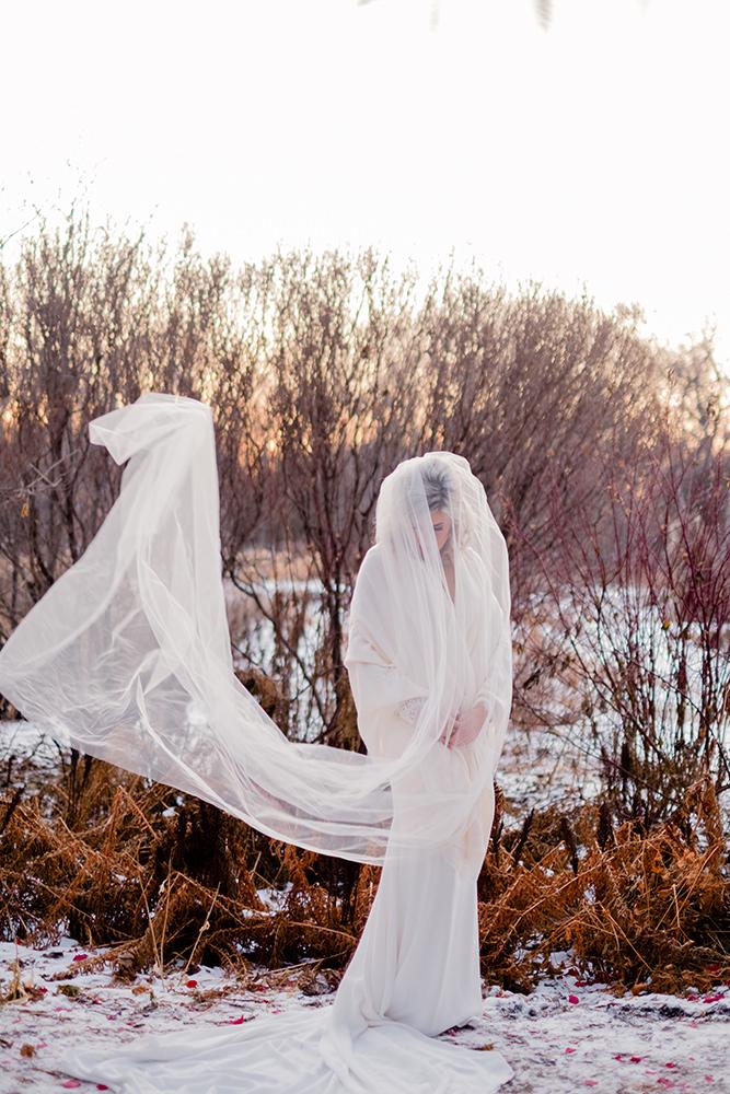 Bride in snow Assiniboine Park Winnipeg
