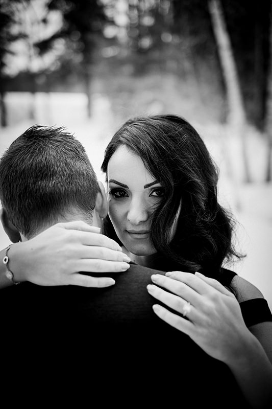 Black and white Birds Hill Park engagement photo