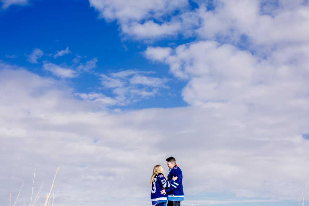 Winnipeg engagement photo with Jets jersey