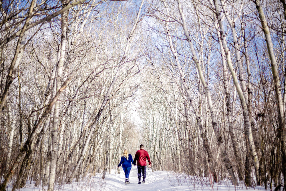 Assiniboine Forest Winter engagement photo