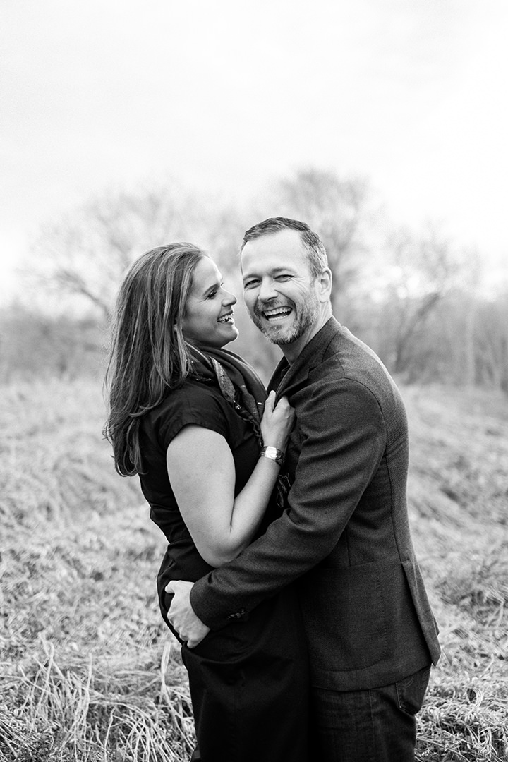 Black and white engagement photo Winnipeg