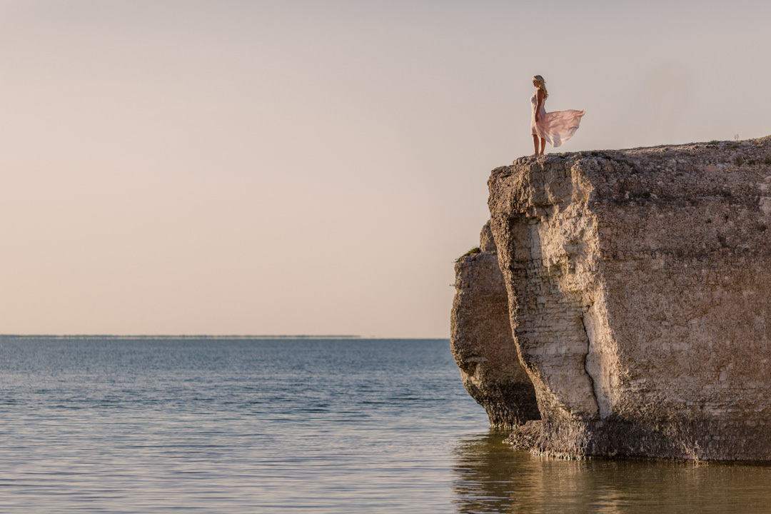 Bride on rocks Lake Manitoba