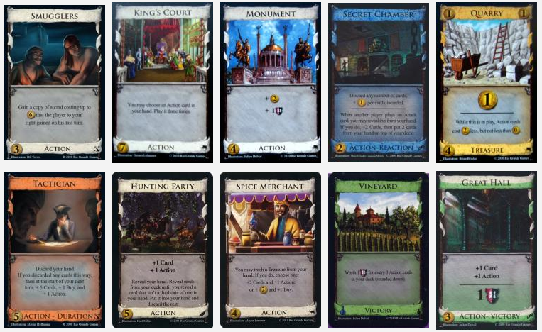 Dominion: Select 10 Random Cards