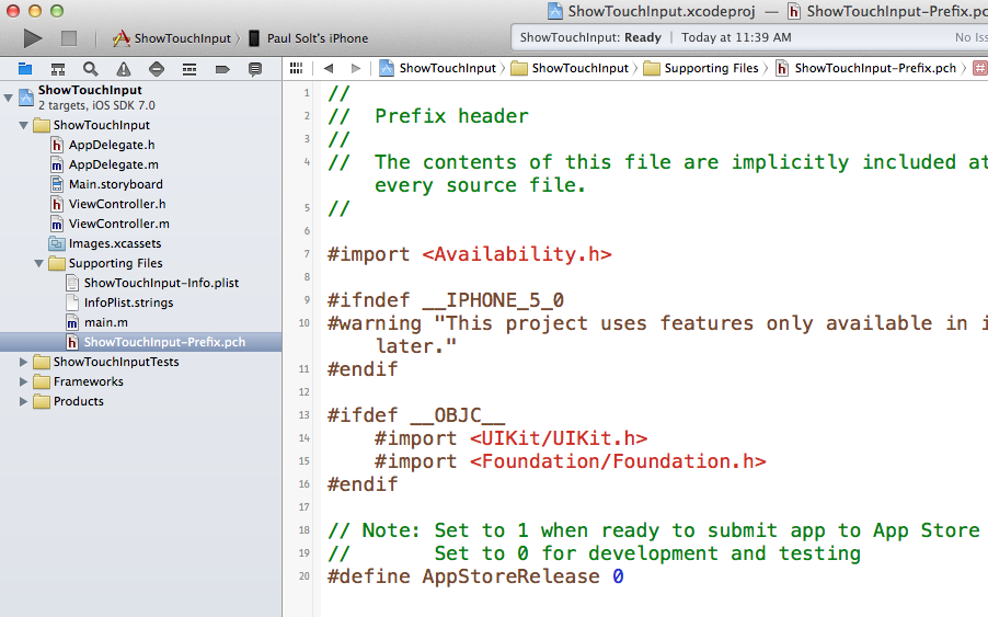 Find your .pch file in your Supporting Files folder on the left panel.