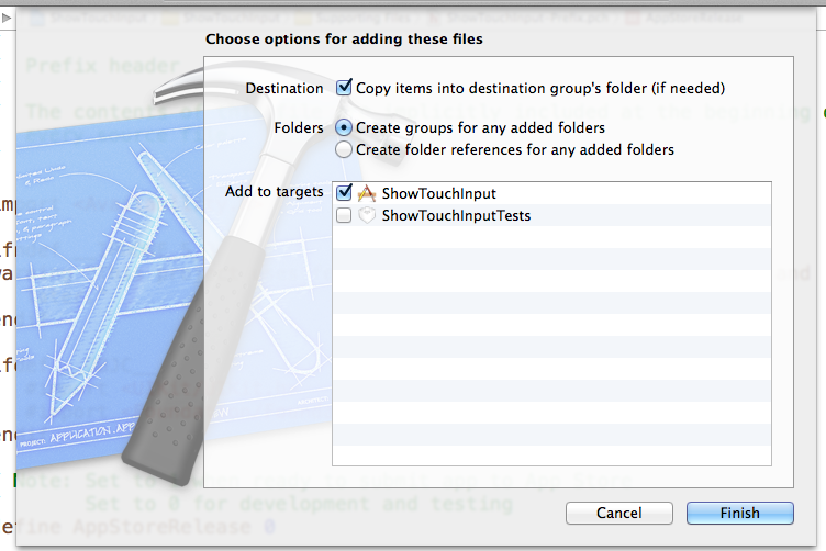 """Check the boxes for """"copy items into destination group's folder"""" and add to your app target."""