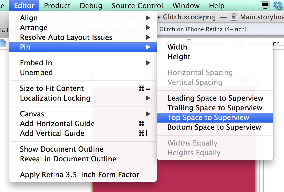 Pin the Top Space to the Superview and you'll fix your bug.