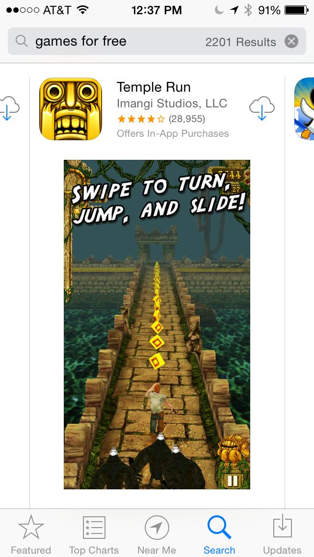 App Store Search - Temple Run