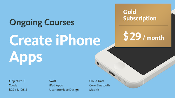 iPhone App Courses Gold Subscription