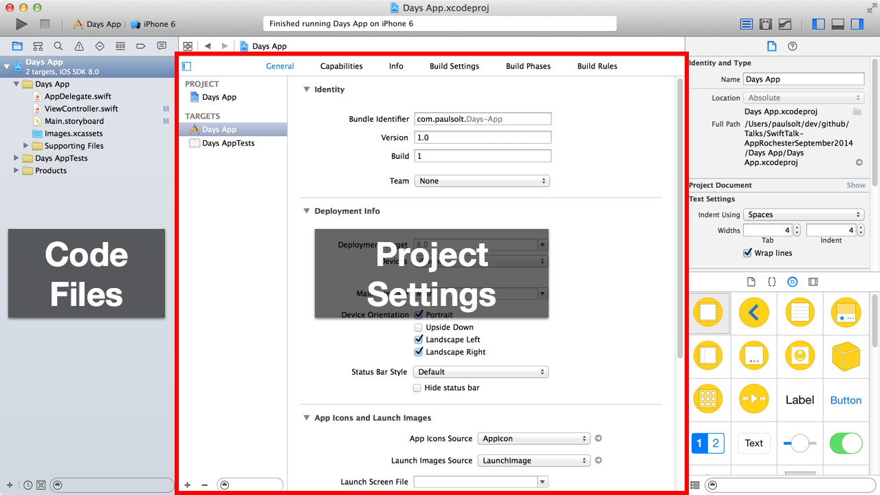 The first screen of a new Xcode project