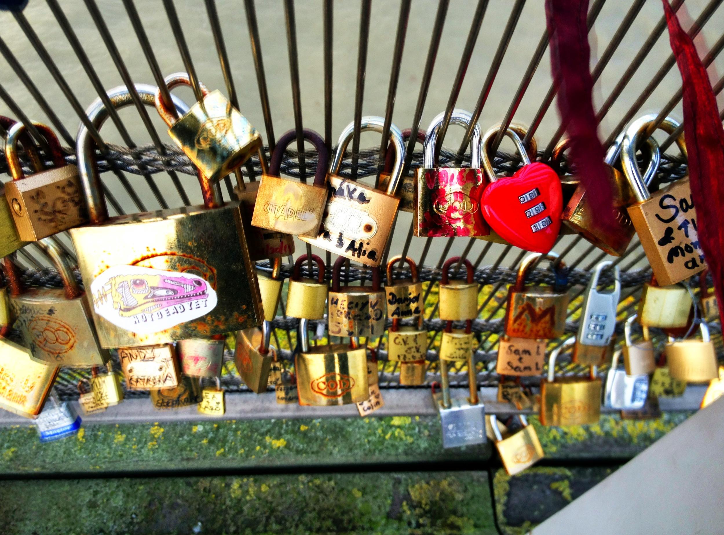 Love Lock bridge in Paris, Seine River