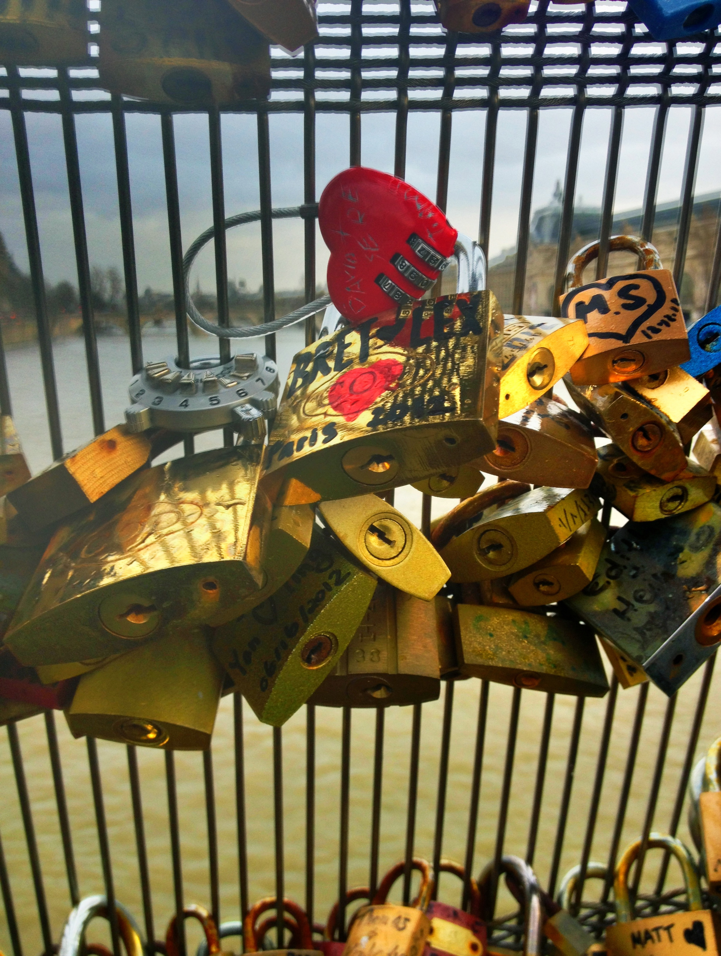 Love Lock bridge in Paris, Seine River