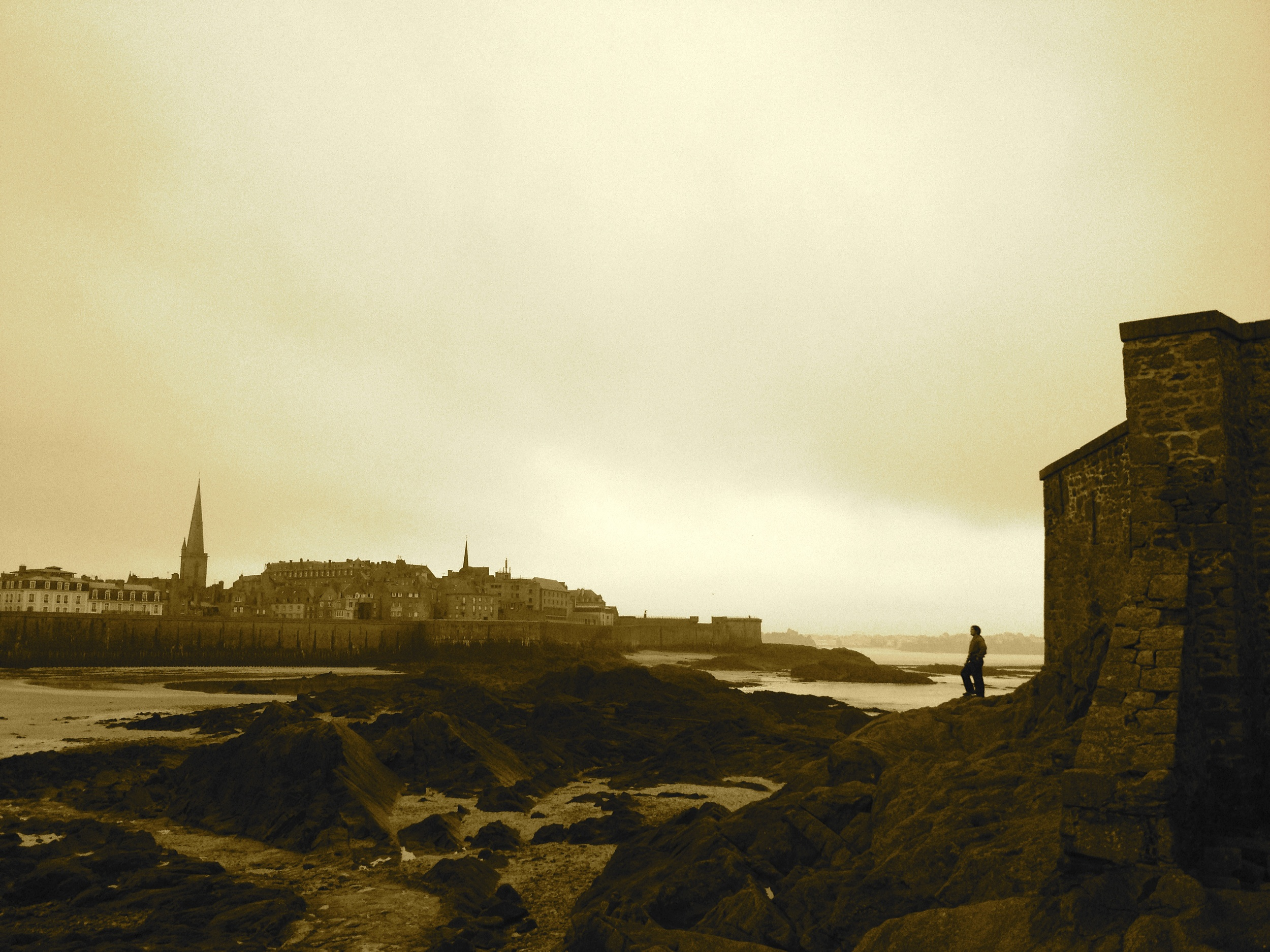 View of City of  Saint Malo  looking back from the beach