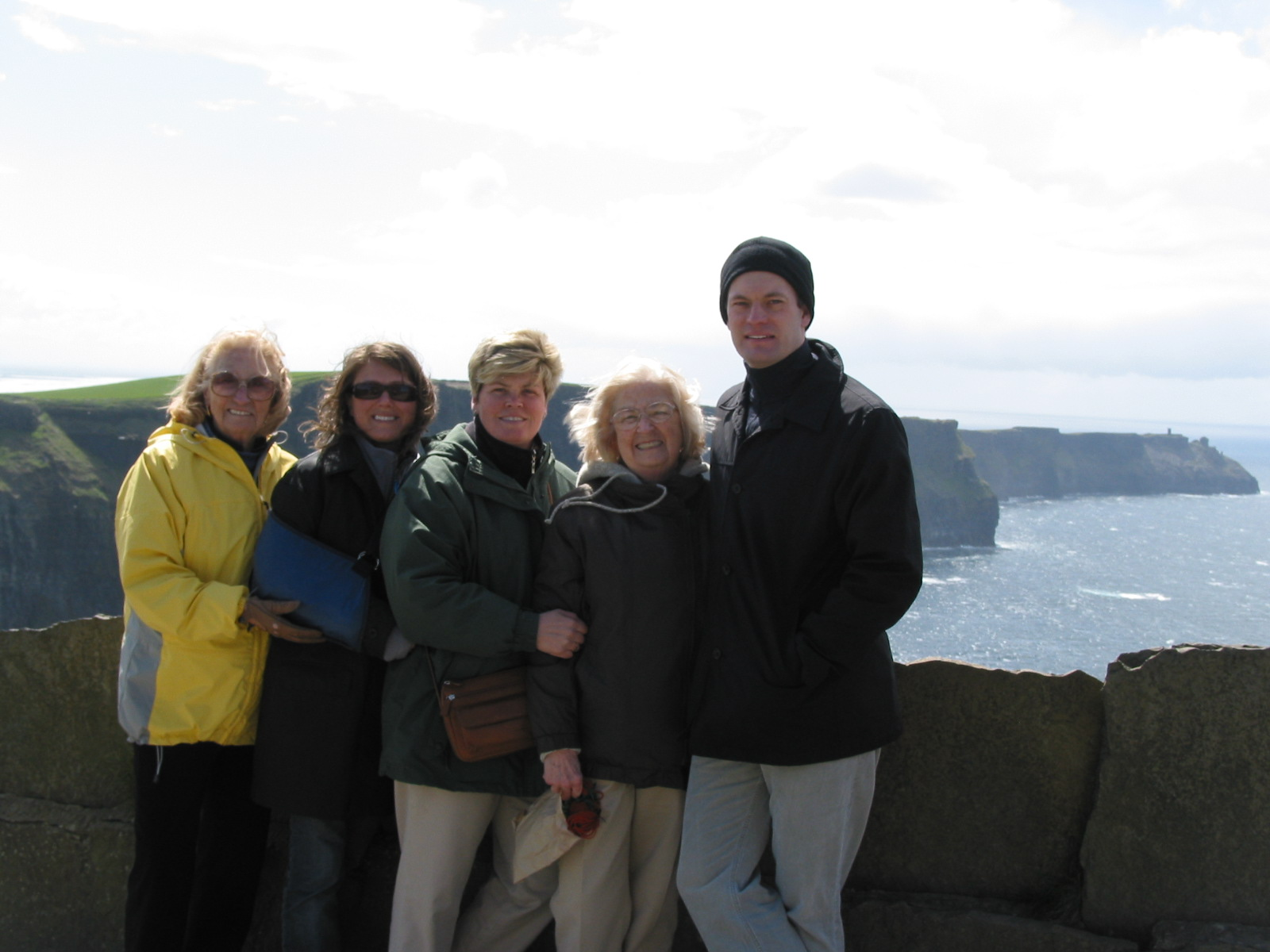 Cliffs of Moher, Nana, me, Aunt Maddie, Great Aunt Pat, Cousin Odie (missing is my Aunt Debbie taking the photograph, sorry Aunt Debbie!!!) Smile. April 2004
