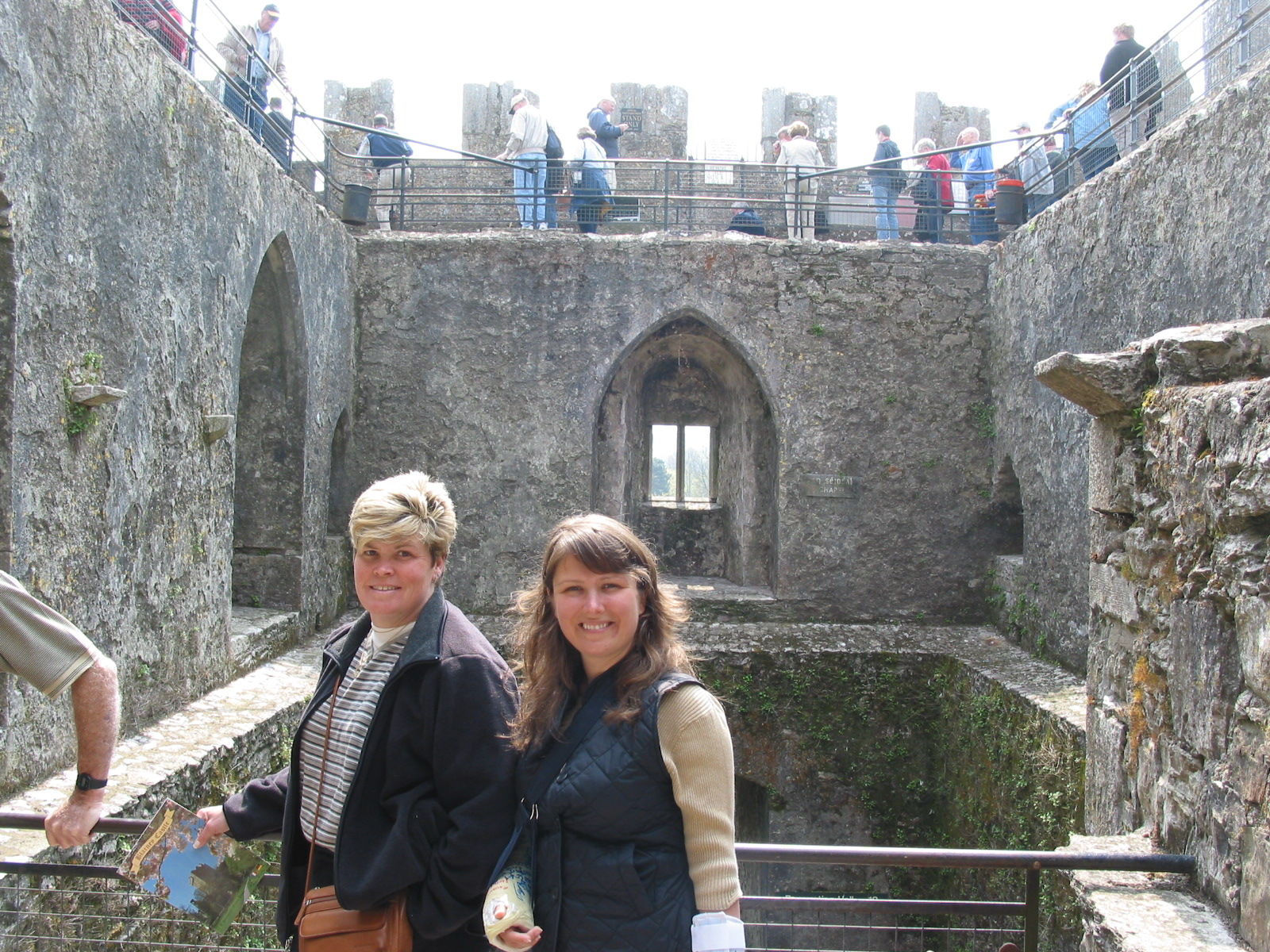 At Castle Blarney with my Aunt Maddie, notice right arm in a sling and left arm in a brace, 2004