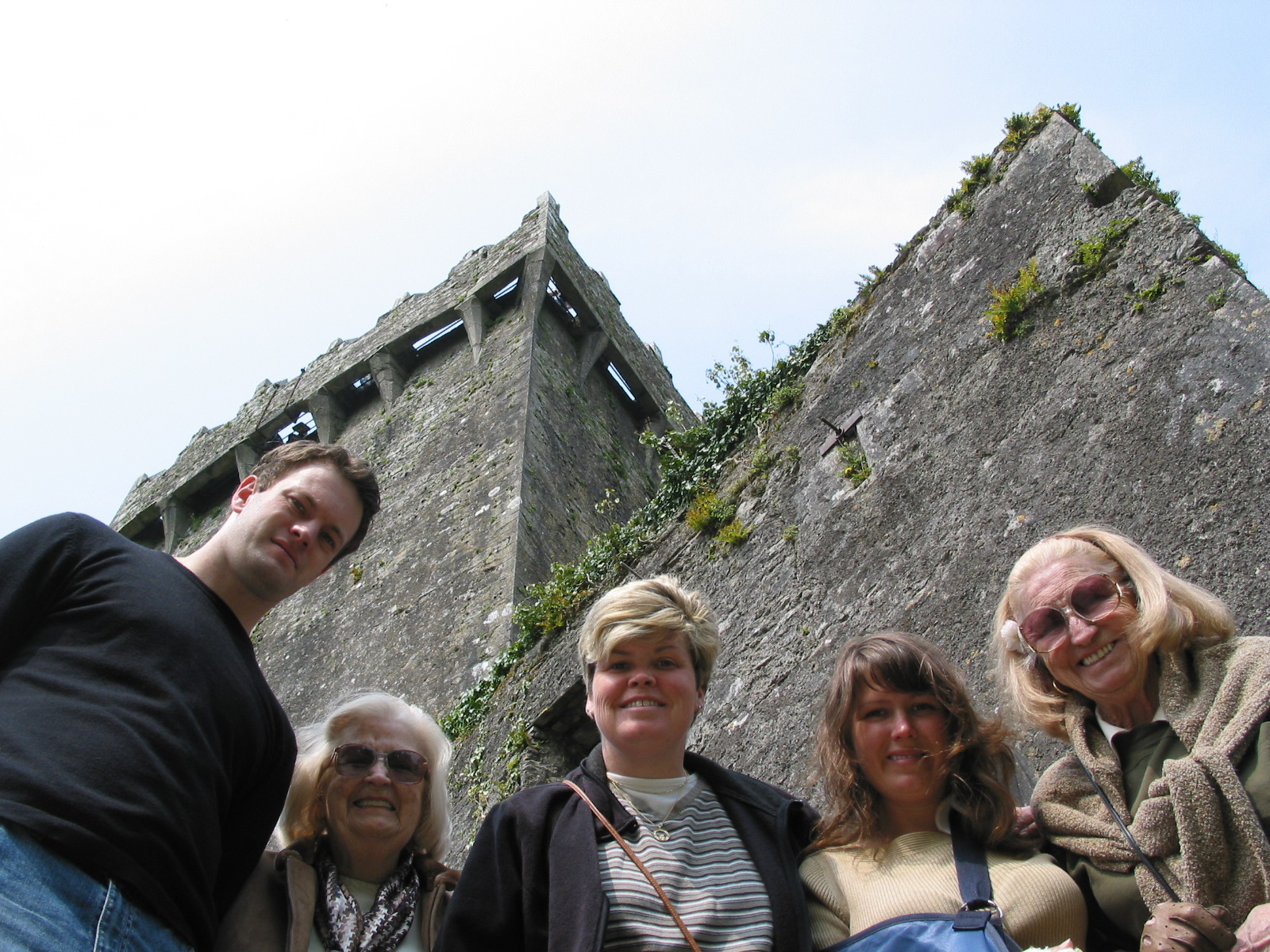 Castle Blarney, Cousin Odie, Great Aunt Pat, Aunt Maddie, me, and Nana  (missing is my Aunt Debbie, taking the picture)