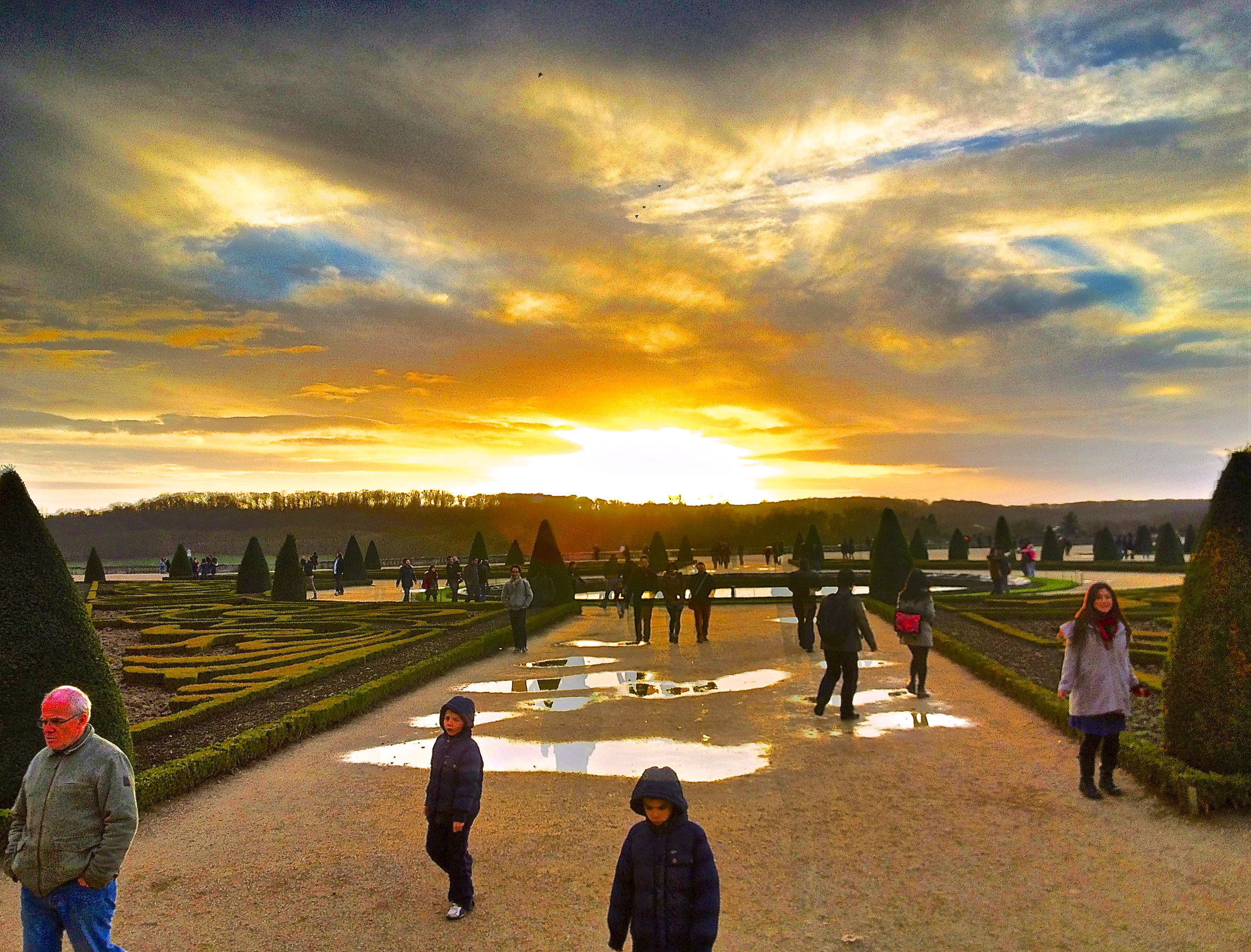 ghosts in the garden at sunset, Palace De Versailles, France