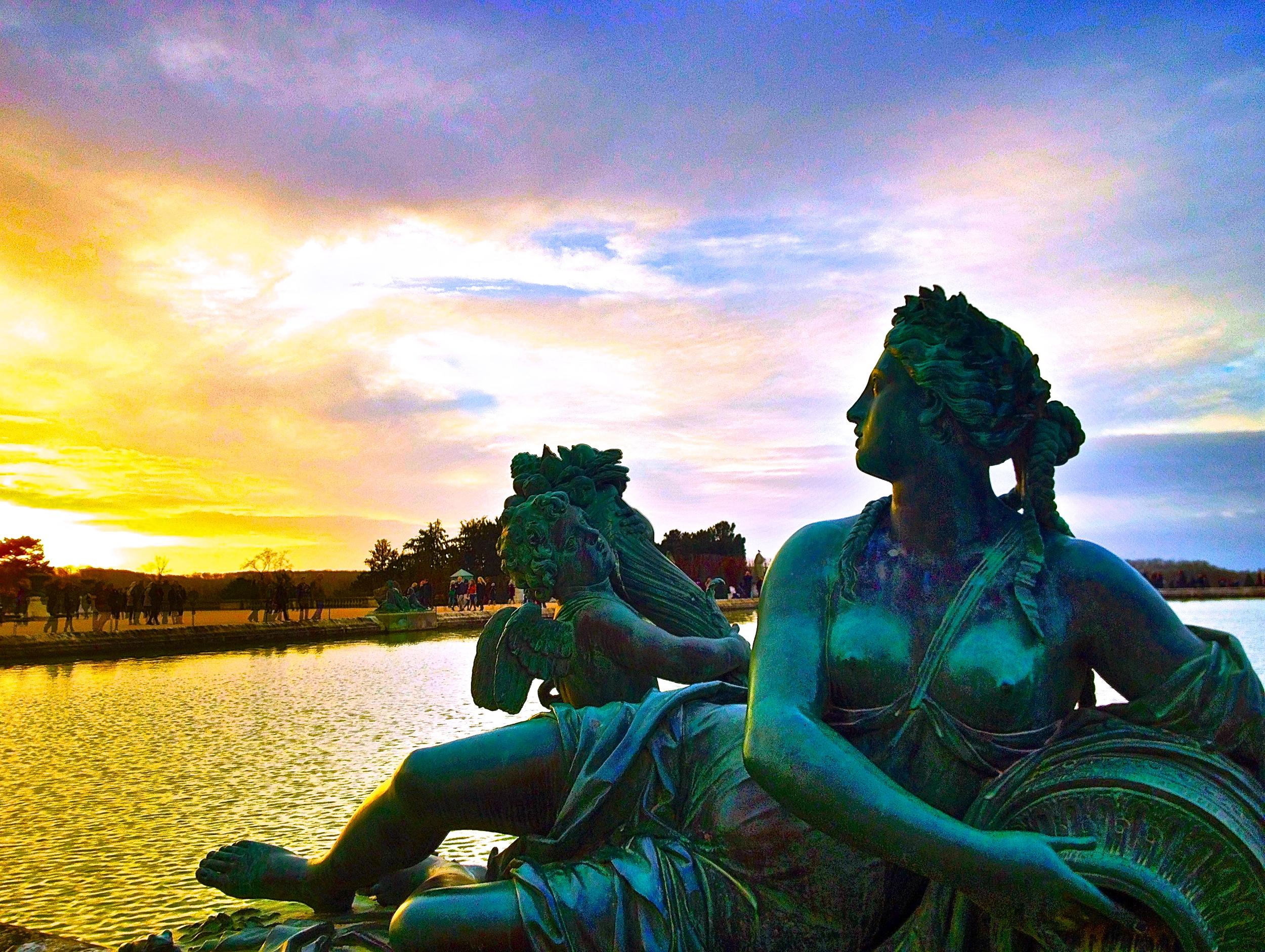Garden of Versailles at sunset, Palace De Versailles, France