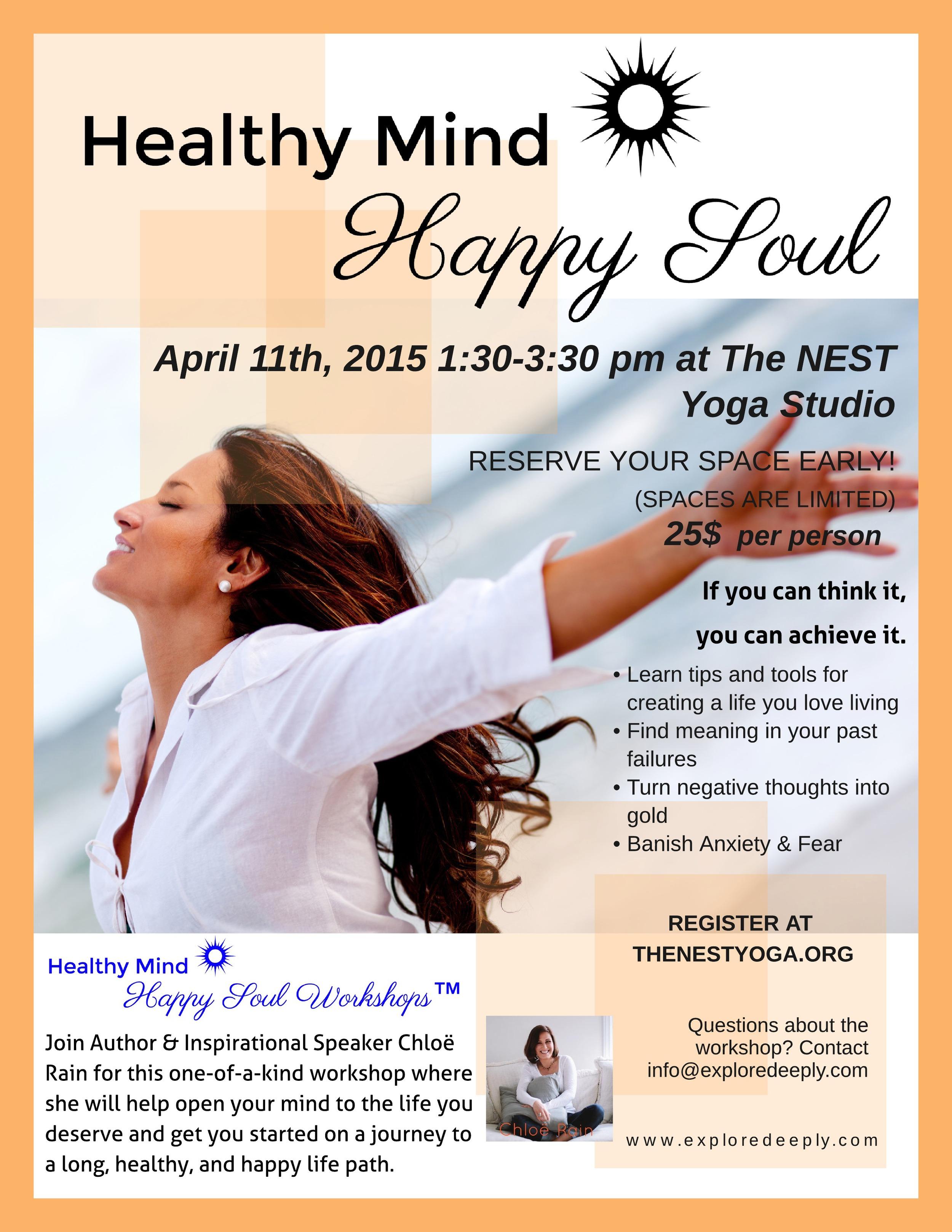 healthy mind happy soul workshop april 2015 explore deeply the nest yoga studio harrisonburg virginia