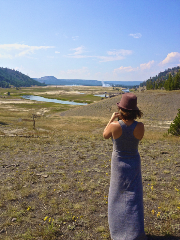 Yosemite National Park, taking pictures of the geysers. {Wearing my Alternative Apparel dress}