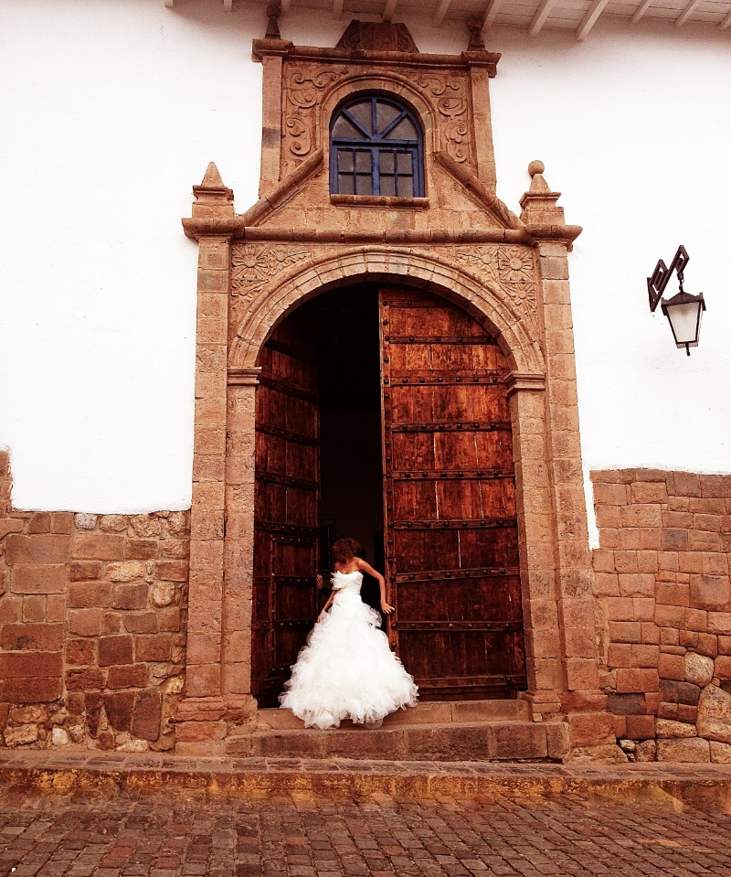 Bride in the Church in the City of Cusco Peru