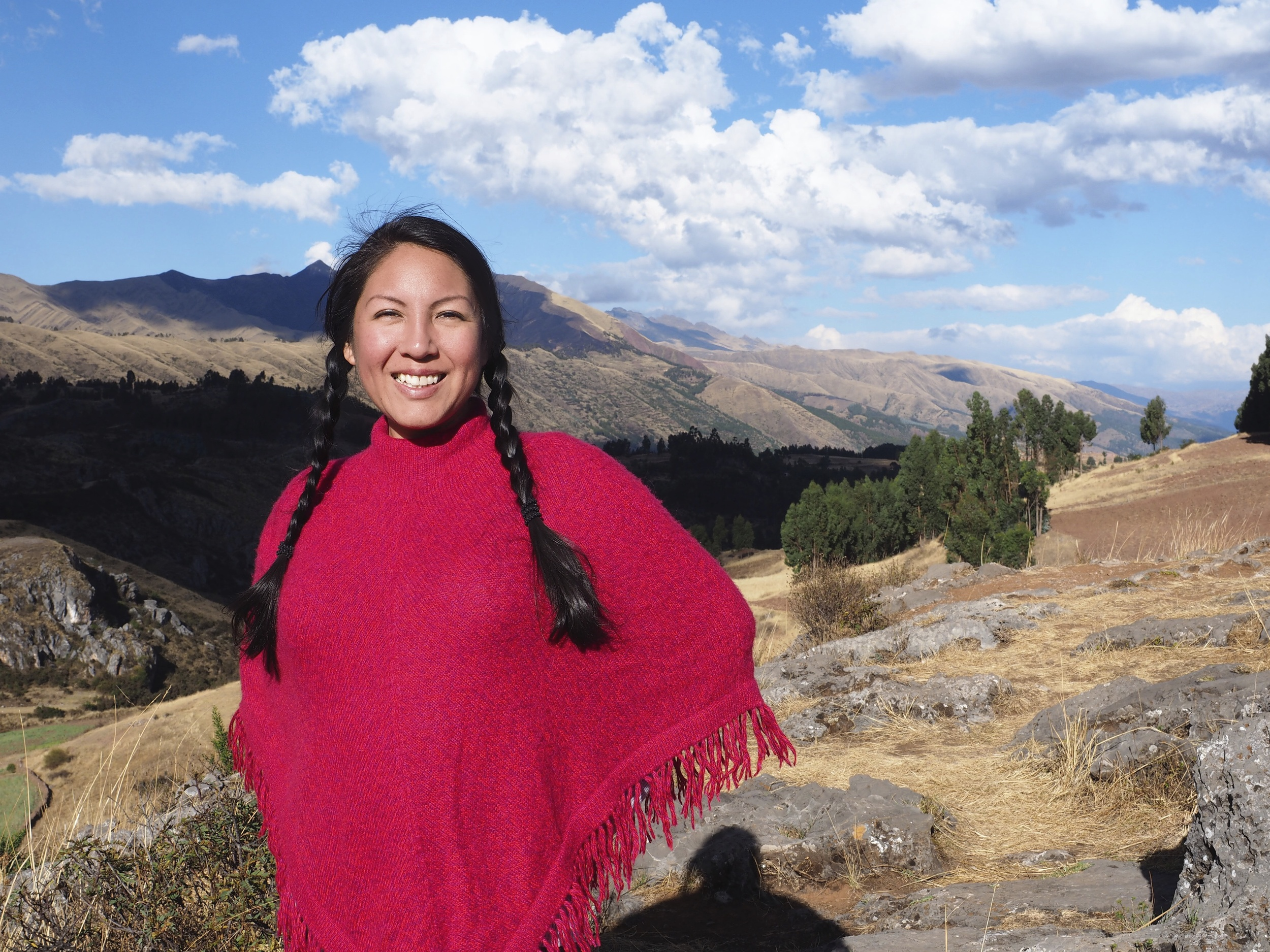 My dear friend Q'orianka Gallegos: Inka High Prietess, on top of the Temple of the Moon.