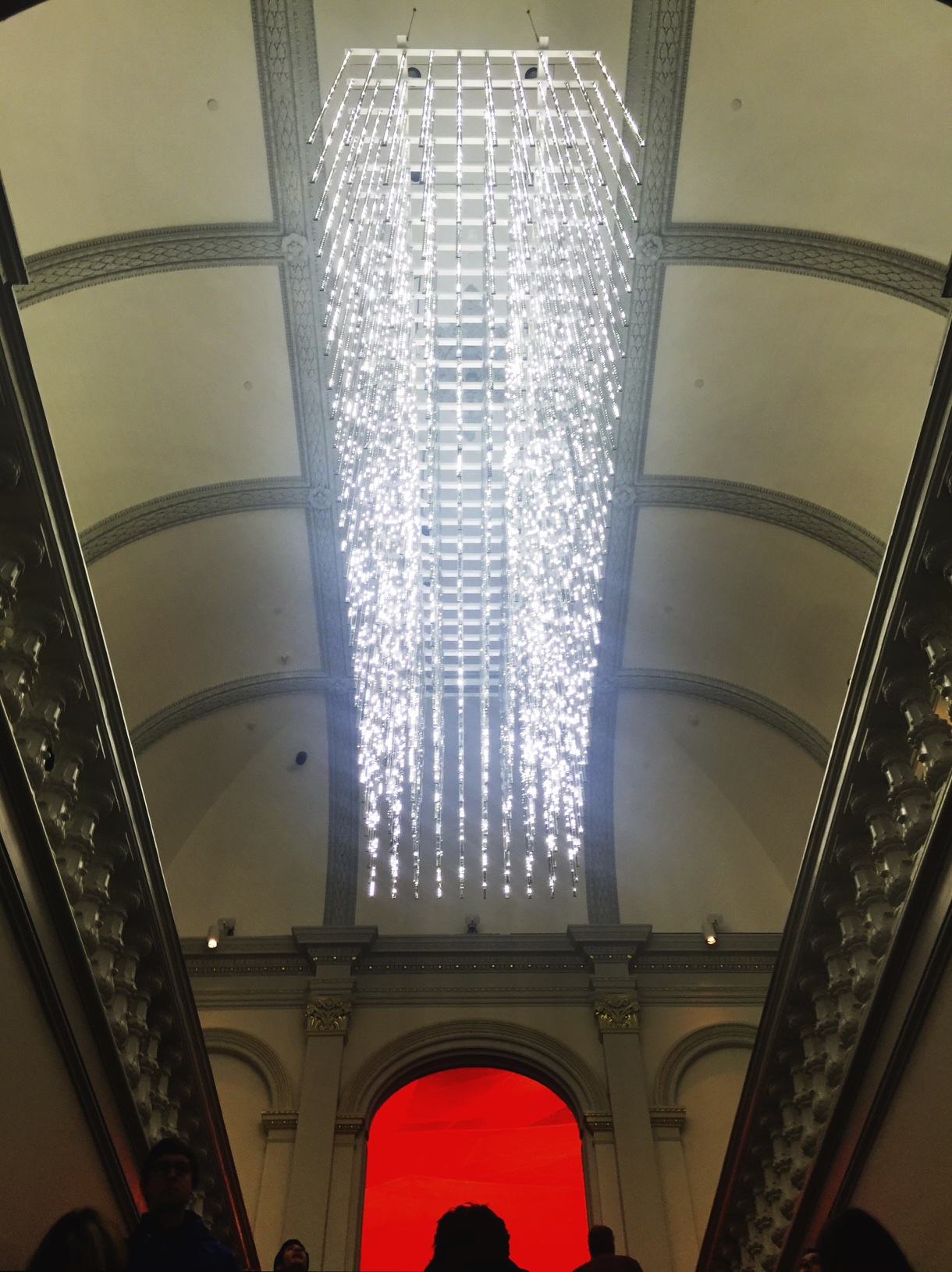 The Renwick Gallery Grand Staircase and Leo Villareal's 23,000 Points of Light : it uses LEDs embedded in 320 mirrored stainless steel rods.