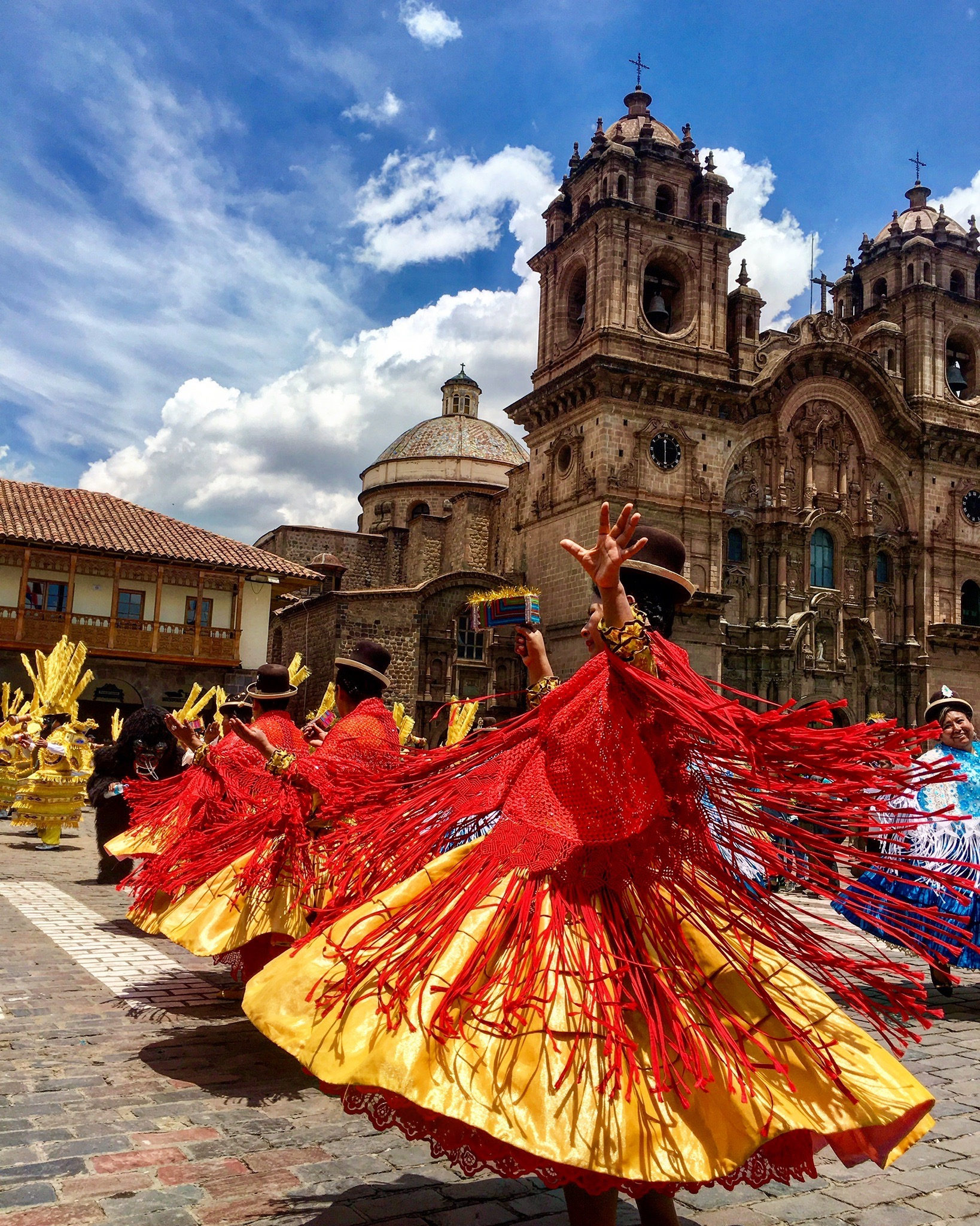 Dancers in the Plaza de Armas, Cusco Peru
