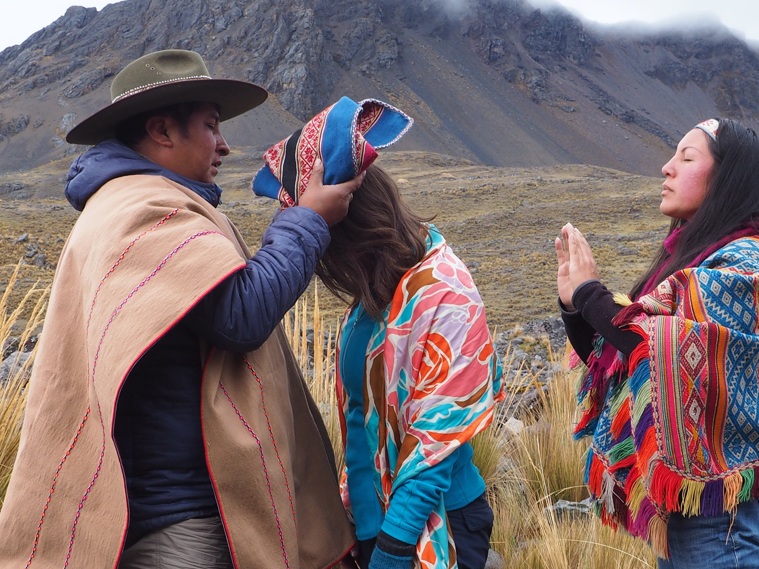 Initiation at the base of Apu Ausangate, with my Teacher Maestro Lorenzo,of the Inka Q'ero lineage, and my friend and colleague Q'orianka Gallegos, Inka High Priestess.