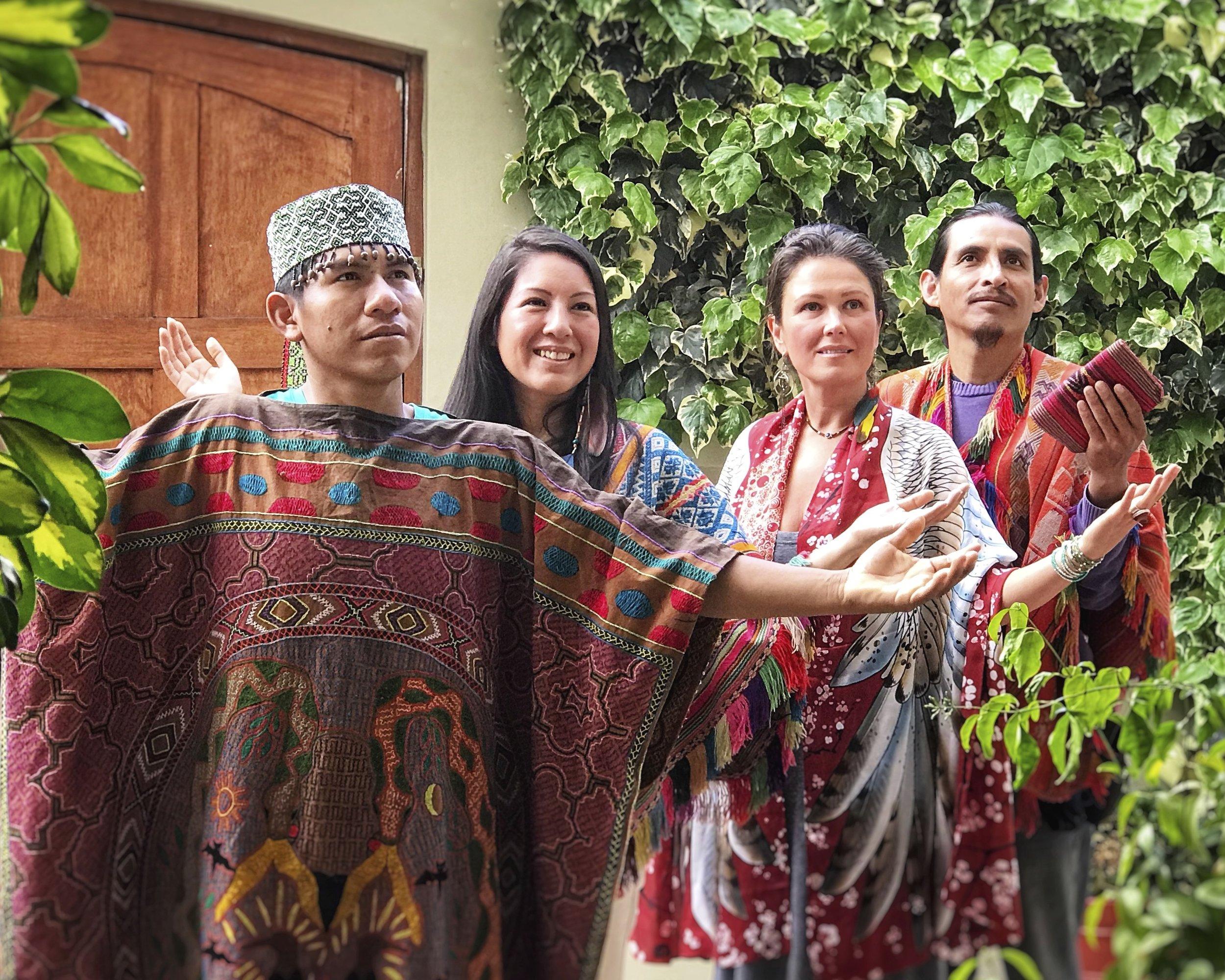 The Ceremonial Team - Left to Right: Maestro Juan Carlos | Shipibo Curandero, Qorianka Cornejo | Inca High Priestess, Chloë Rain | Spiritual Guide & Founder of Explore Deeply, Peter Bermejo | Inca High Priest