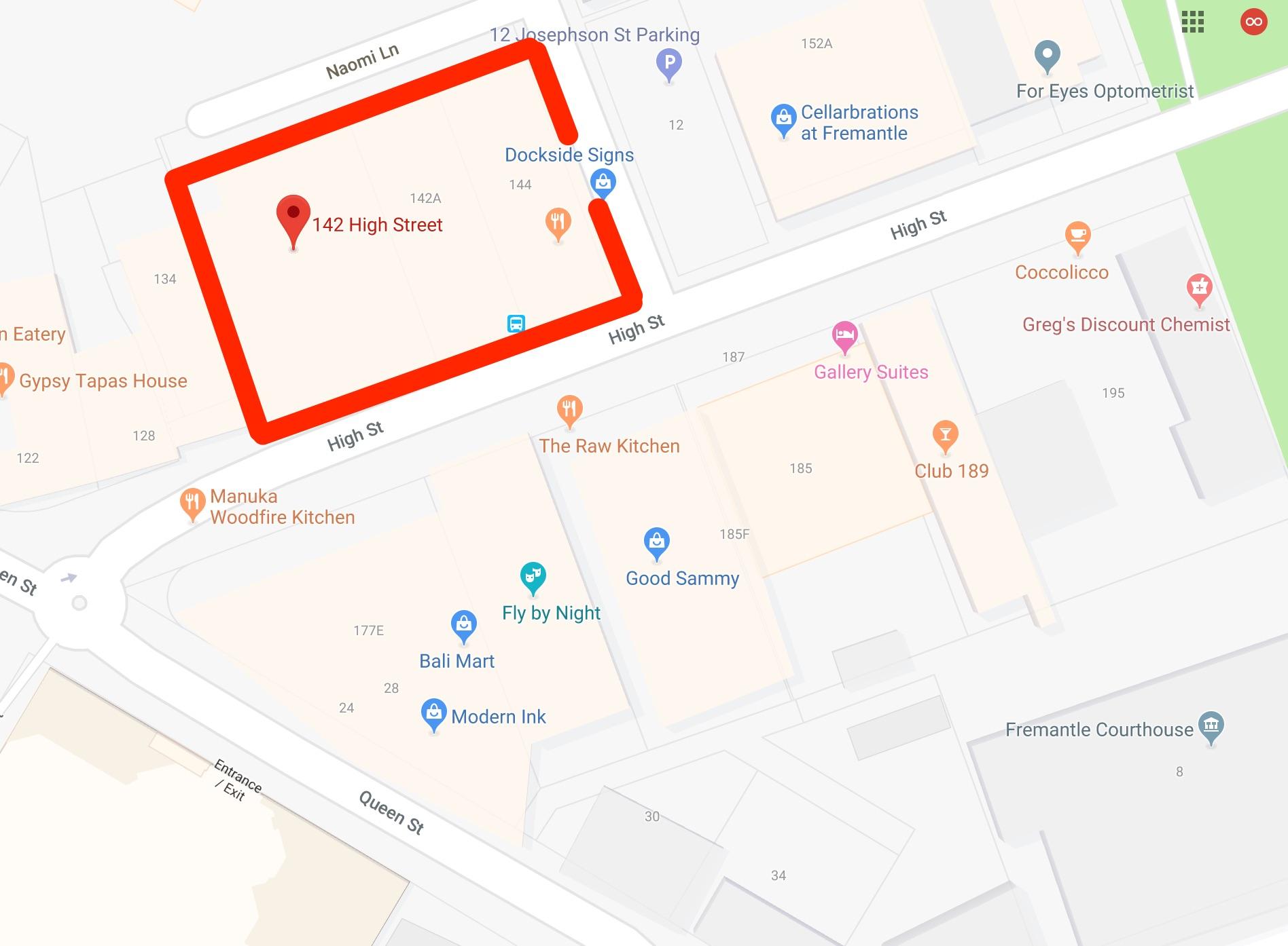 Google Maps - 142 High Street, Fremantle, Australia