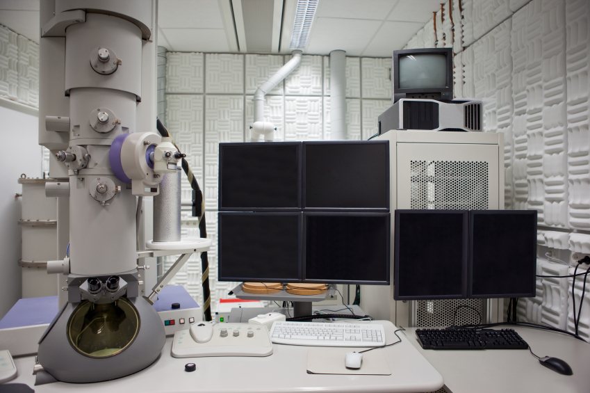 24. The electron microscope - The first electron microscope in North America was built by J. Hillier, A. Prebus and E.F. Burton at the University of Toronto in 1938 (for a history of the project, click on the photo).