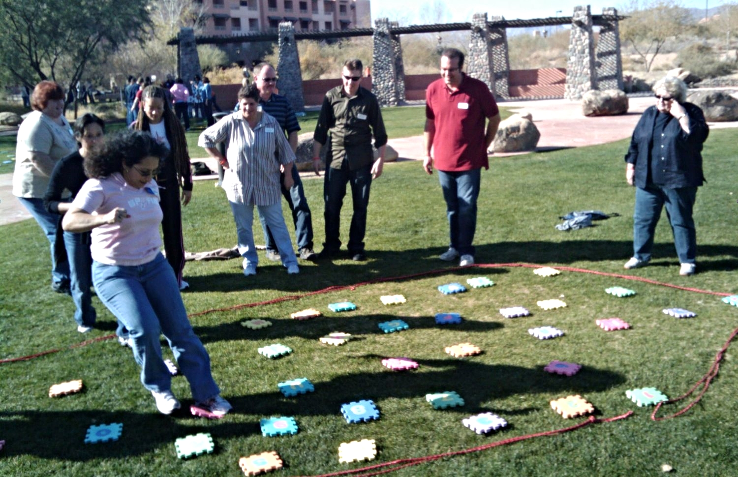 Team problem-solving exercises, creative thinking activities and collaborative group challenges