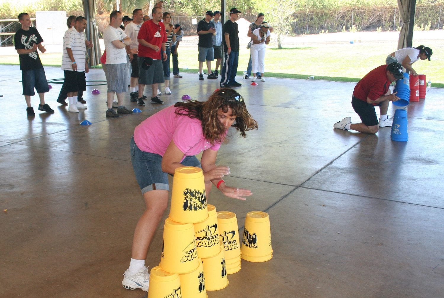 Minute to win it-style games and cooperative team challenges