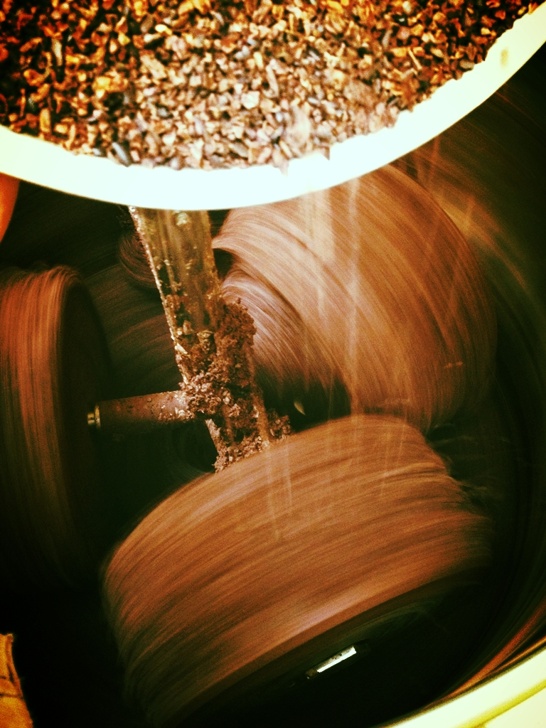 Cocoa beans grinding.. now for the sugar and cocoa butter