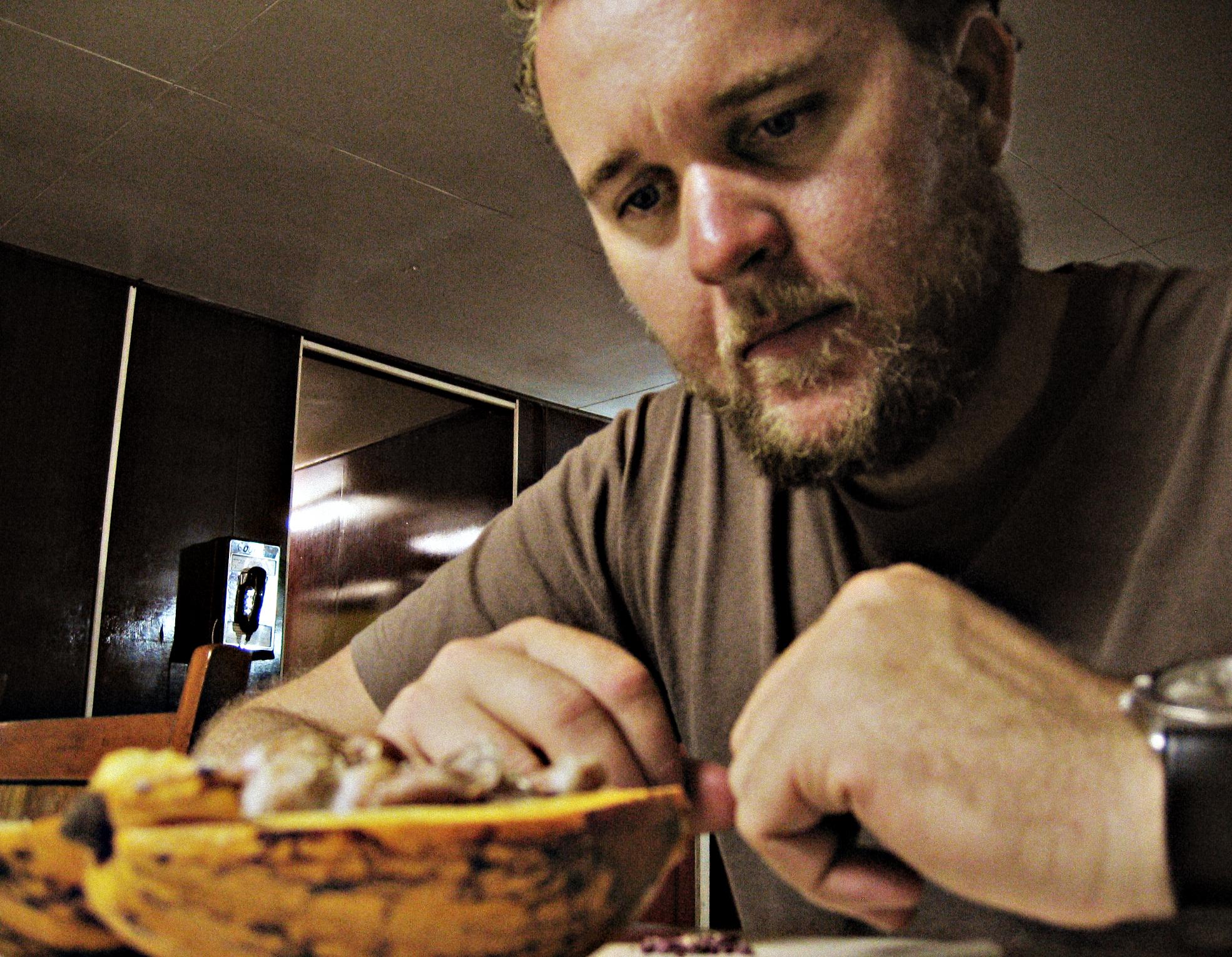 Luke Spencer, Chocolate-Maker-To-Be.. pondering the beans