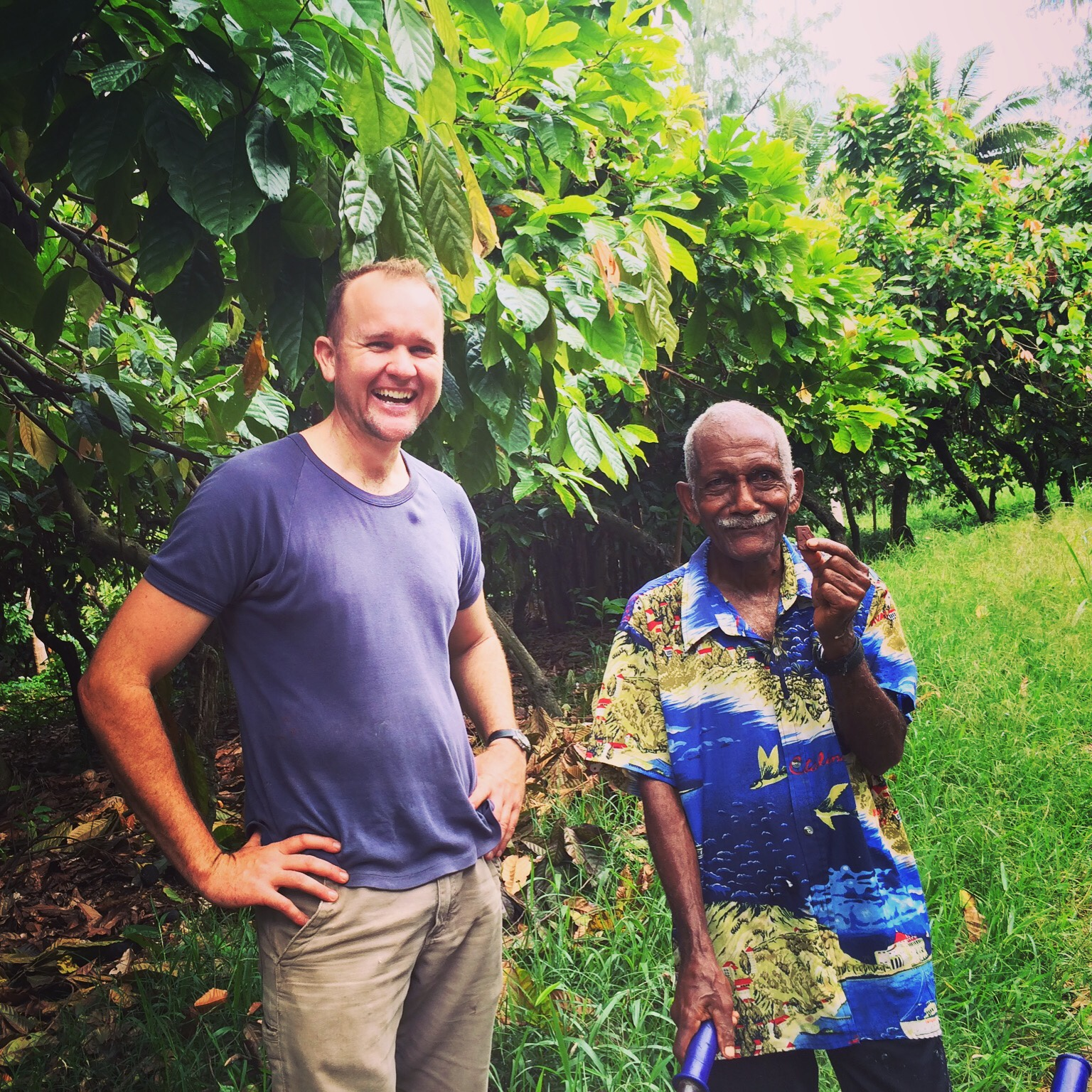 Australian chocolate maker Luke Spencer with cocoa grower Pastor Robert in Malekula Vanuatu