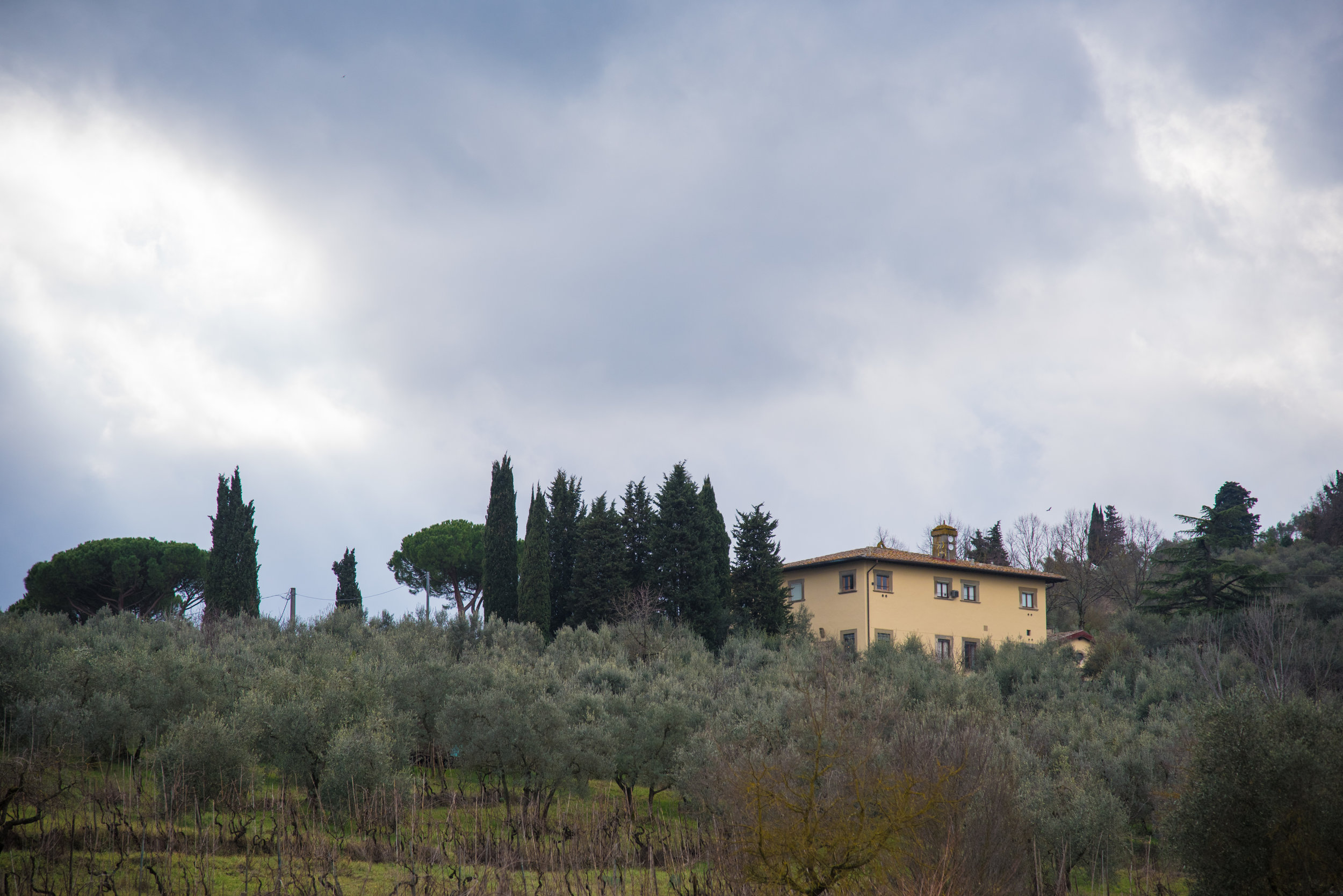 The Harding University villa sits on a hill in Tuscany, Italy. This semester 36 students and a family of four call this big house on the hill  Home .