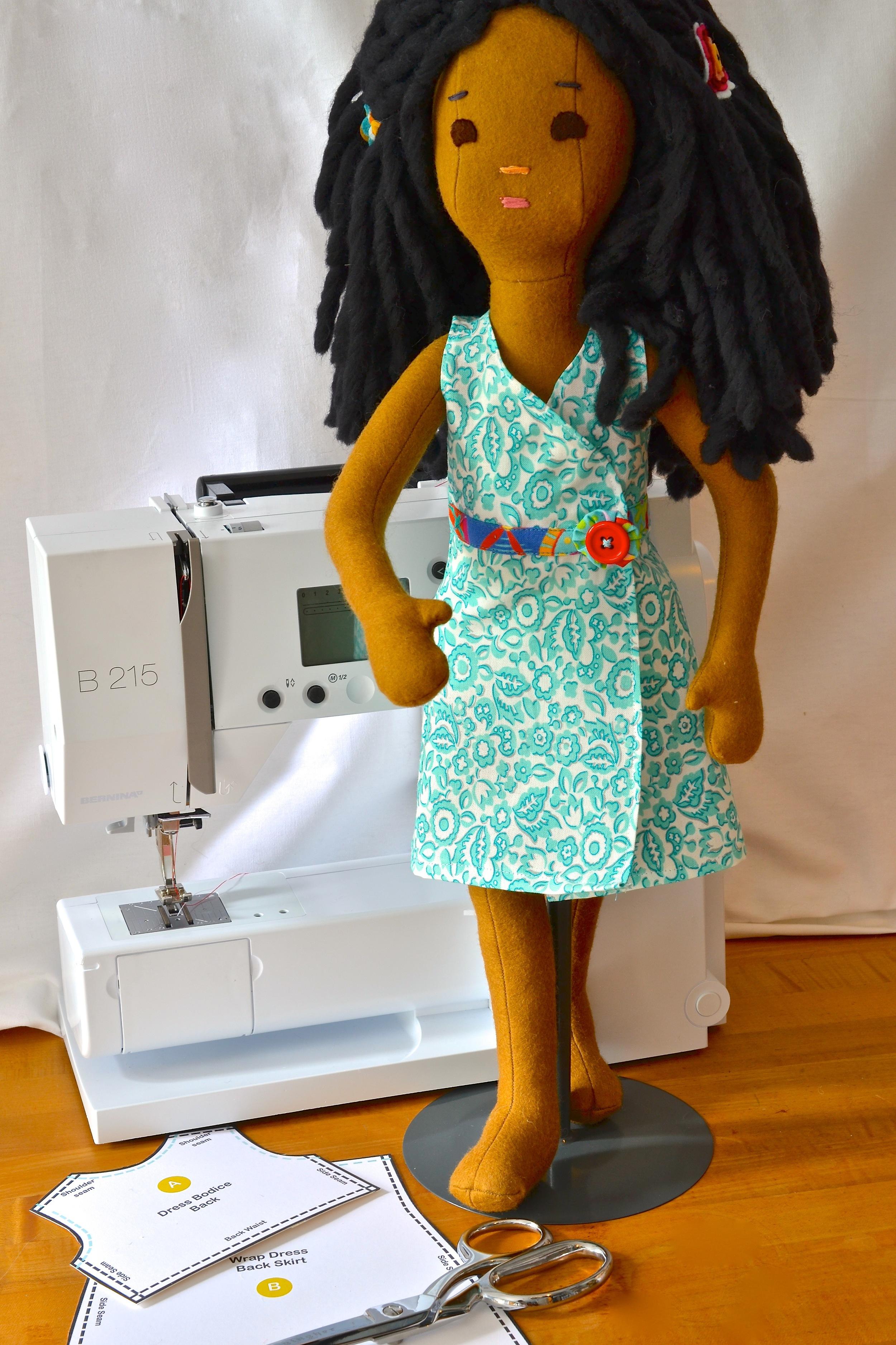 Phoebe models her wrap dress