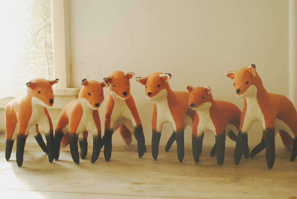 Foxes made from an upcycled cotton curtain, photos courtesy of Margeaux Davis